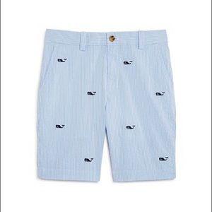 Men's Seersucker Embroidered Whale Shorts